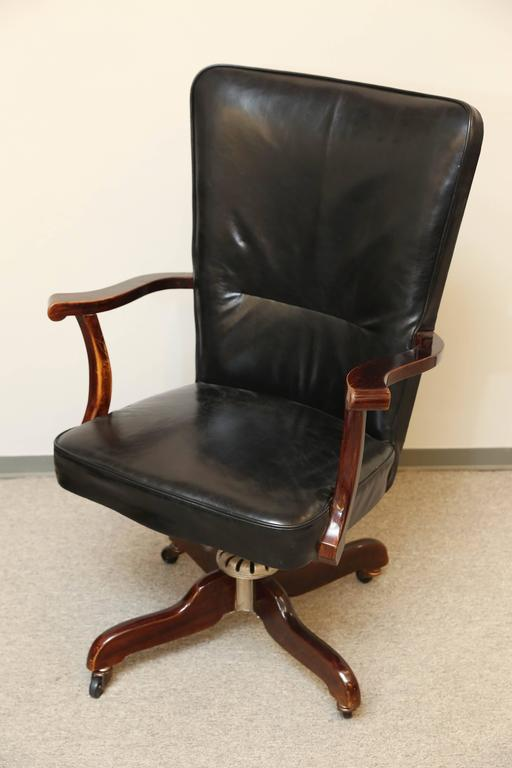 Art Deco Arm Chair   Swivel Office Chair. Circa 1930 Adjustable Height With  Curved Wooden