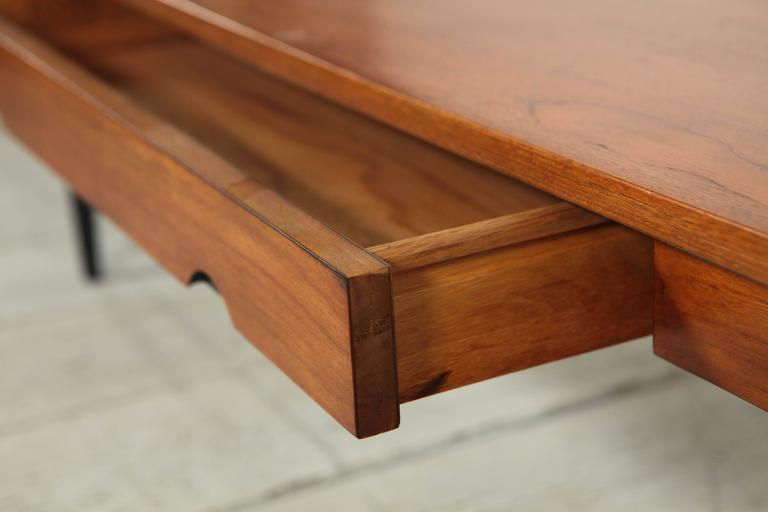 Long Coffee Table With Leather Inlay And Drawer At 1stdibs