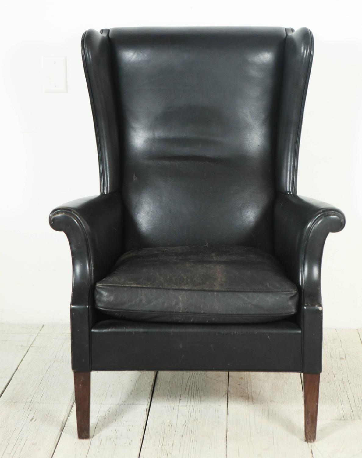 black leather club chair italian black leather high wingback chair at 1stdibs 4730