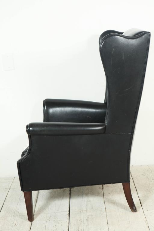Beau Italian Black Leather High Wingback Chair In Good Condition For Sale In Los  Angeles, CA