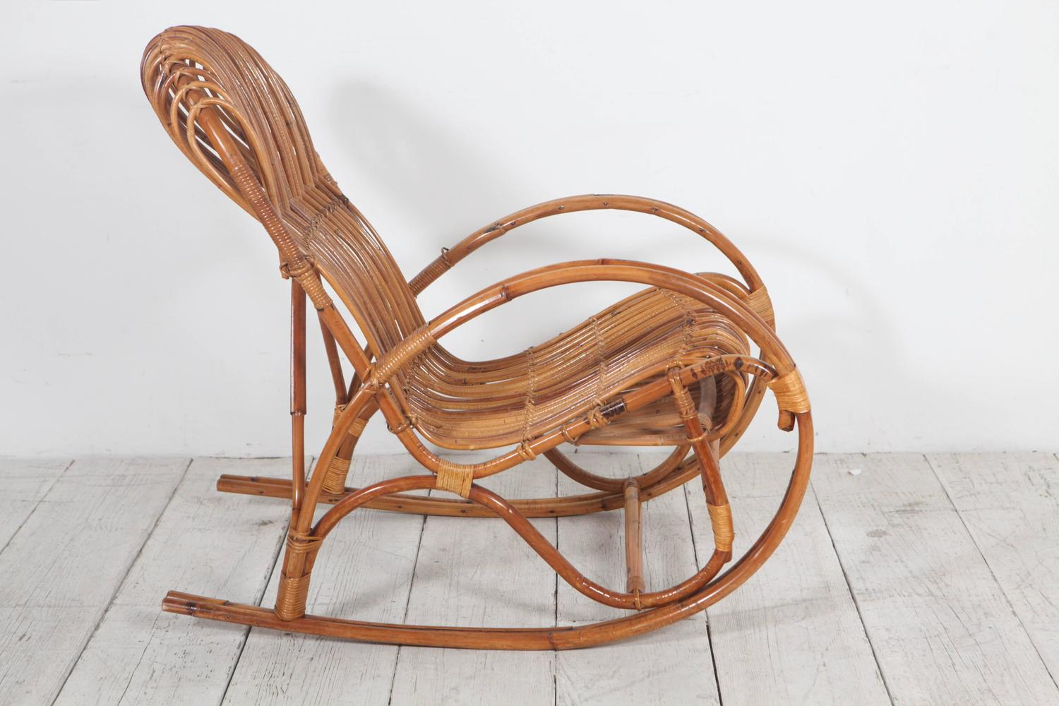 Vintage Italian Bamboo Rocking Chair For Sale at 1stdibs