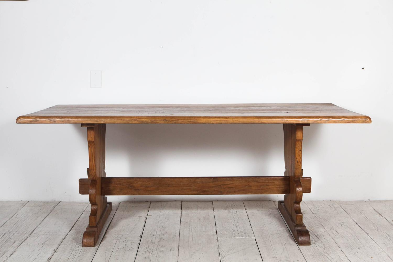 Vintage Rectangular Wood Trestle Farmhouse Table at 1stdibs