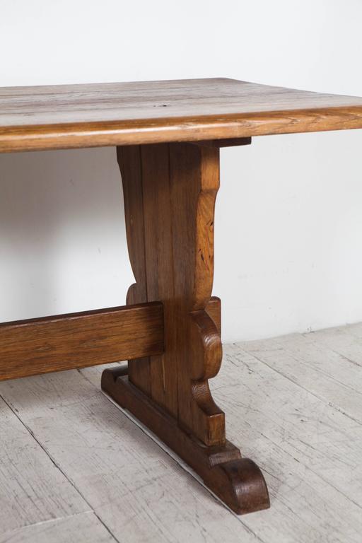 Rustic Cherry Rectangular Table Formal Dining Room Set: Vintage Rectangular Wood Trestle Farmhouse Table At 1stdibs