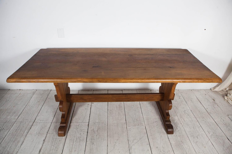 Vintage Rectangular Wood Trestle Farmhouse Table at 1stdibs