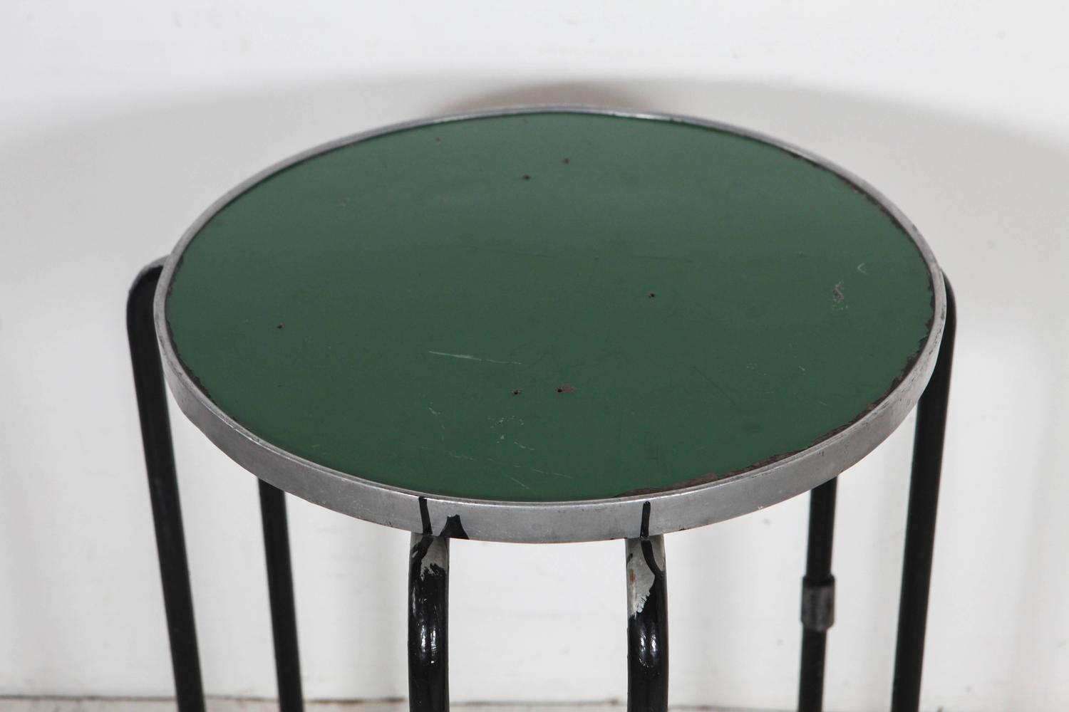 Vintage Italian Curved Metal Round Tall Occasional Or Side