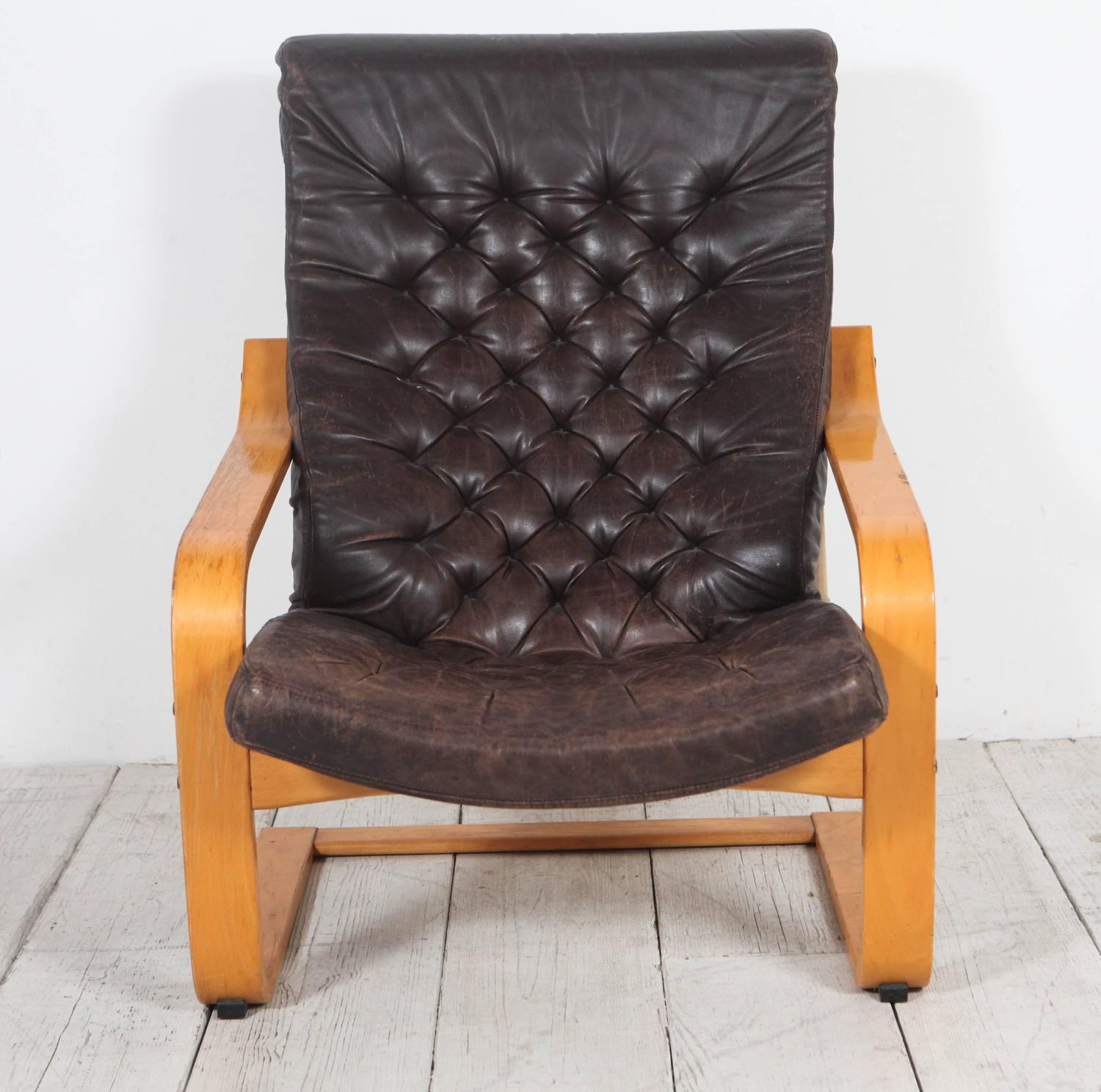 Marvelous Pair Of Original Poem Chairs In Tufted Black Leather By Forskolin Free Trial Chair Design Images Forskolin Free Trialorg