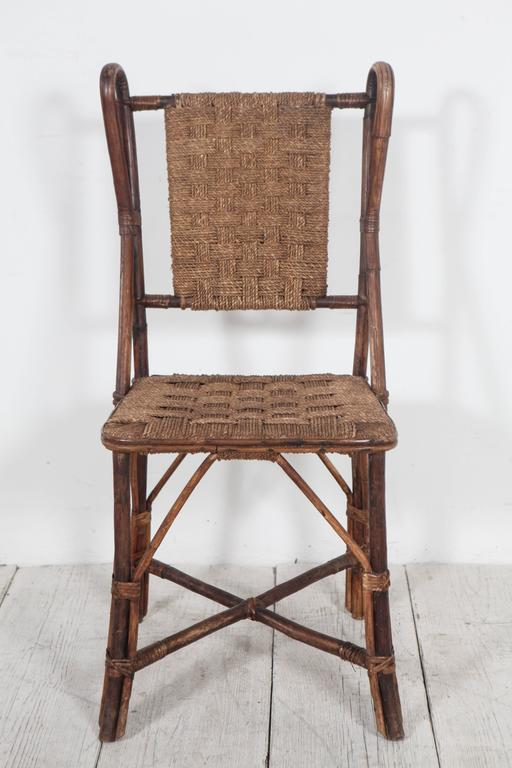 Vintage Italian Wicker And Rush Side Chair At 1stdibs