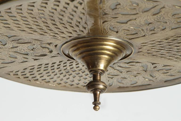 Large Pierced Brass Moroccan Chandelier in Alberto Pinto Style  3