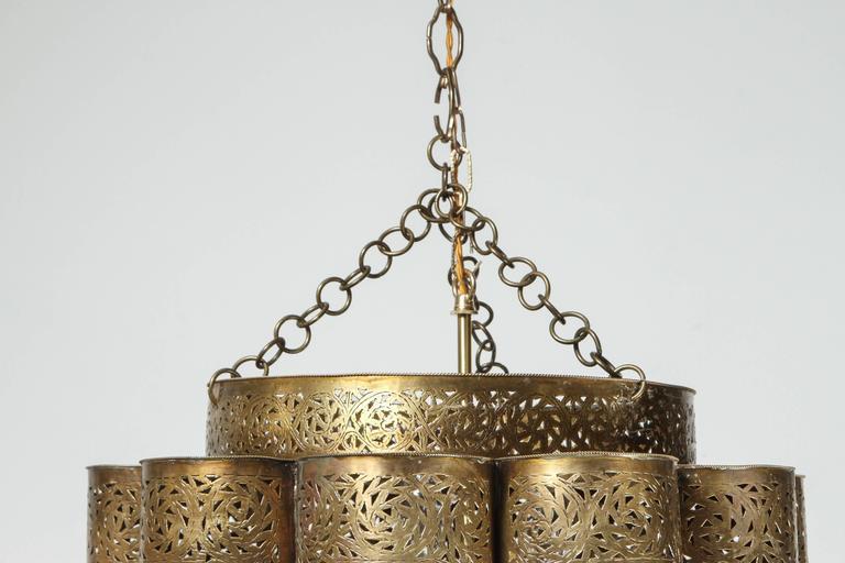 Large Pierced Brass Moroccan Chandelier in Alberto Pinto Style  6