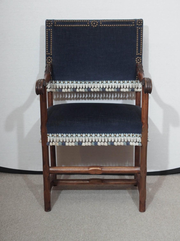 Set Of 6 18th Century Italian Walnut Upholstered Hall