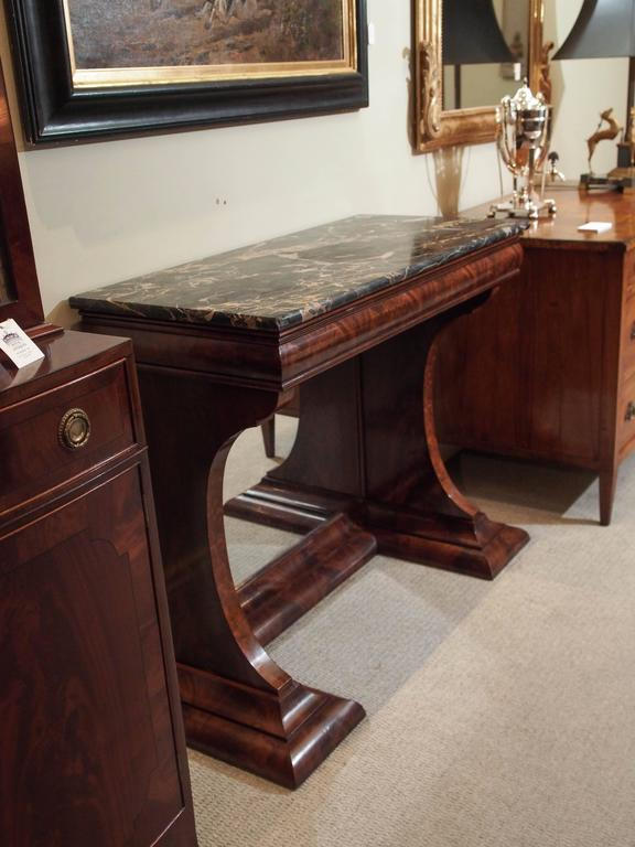 Antique American Mahogany Pier Table W Marble Top And