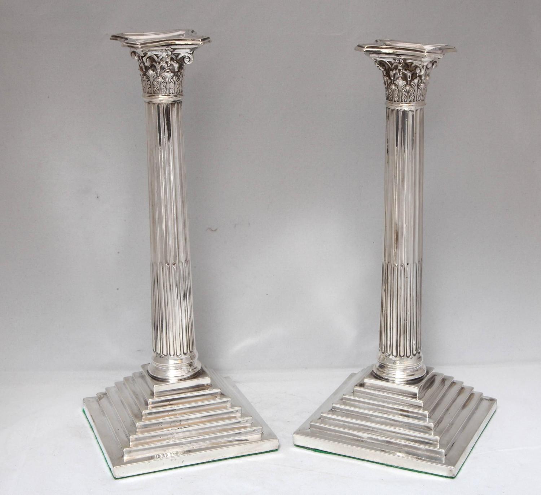 Tall Victorian Sterling Silver Corinthian Column Form