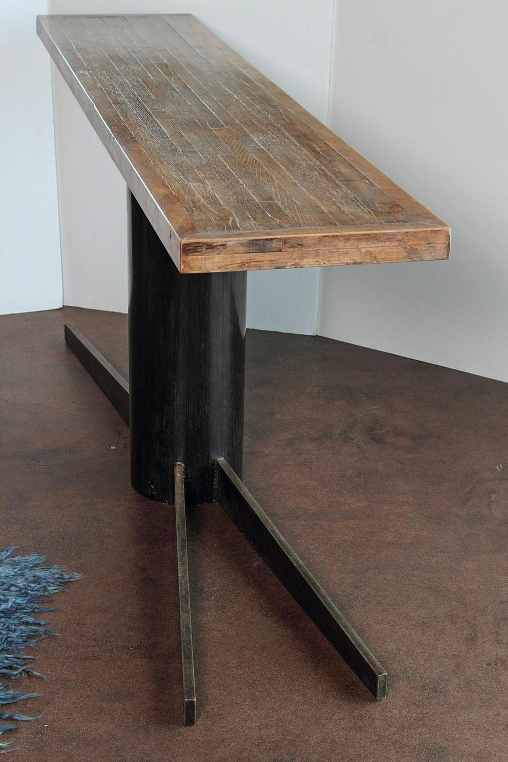 Industrial pedestal console tall sofa table 35 h for for Tall console table