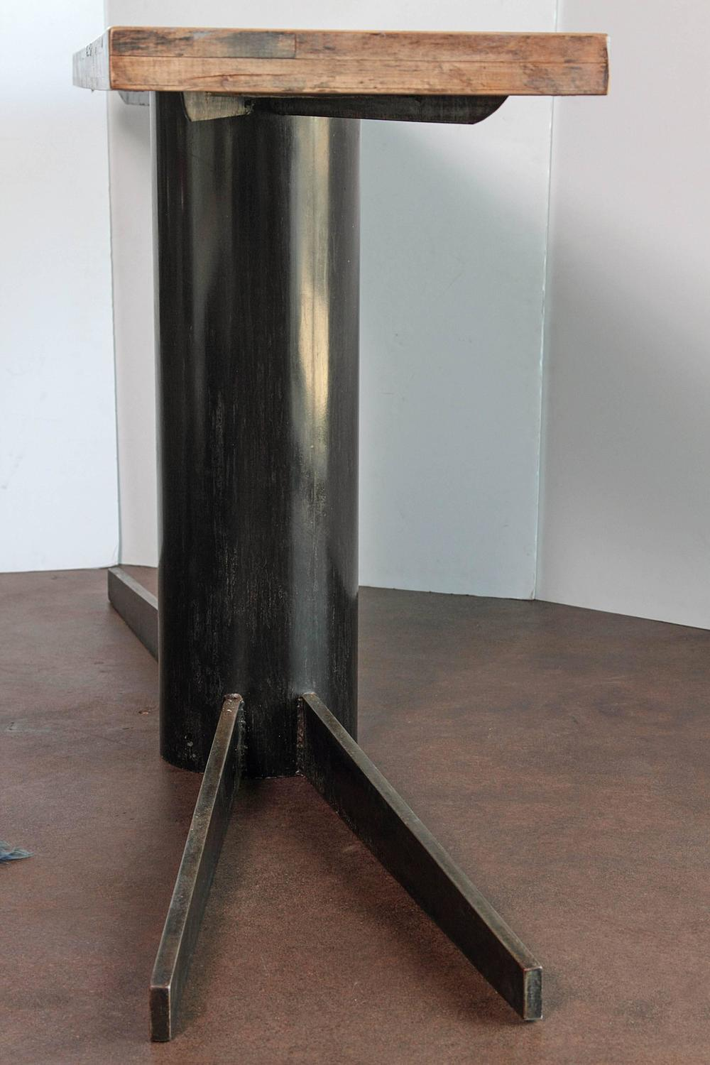 Industrial Pedestal Console Tall Sofa Table 35 H For