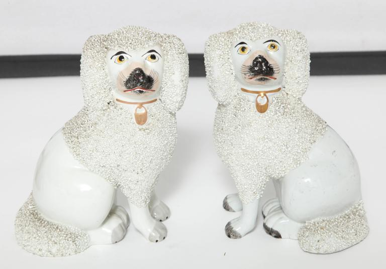 Hand-Painted Pair of Staffordshire Dogs For Sale