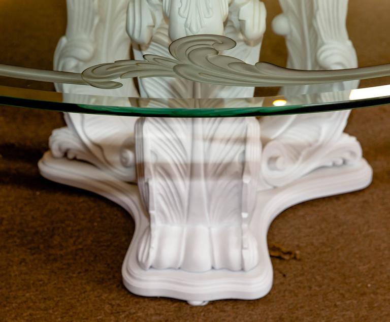 Acanthus Leaf Architectural Design Round Dining Table with Glass Top For Sale 3