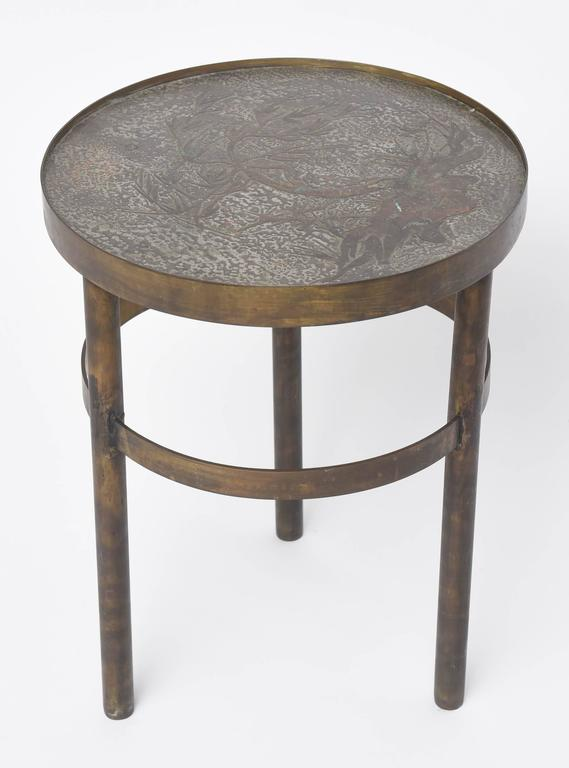 American Philip and Kelvin LaVerne Floral Side Table For Sale