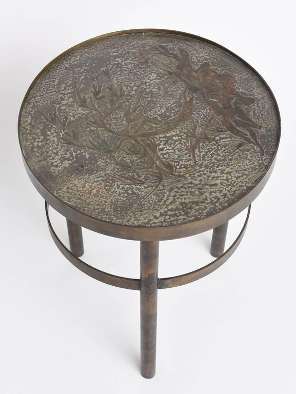 Late 20th Century Philip and Kelvin LaVerne Floral Side Table For Sale