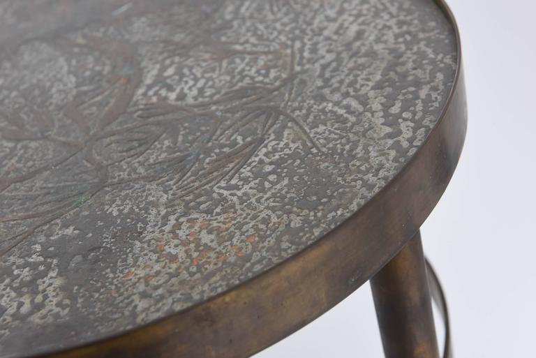 Philip and Kelvin LaVerne Floral Side Table In Good Condition For Sale In West Palm Beach, FL