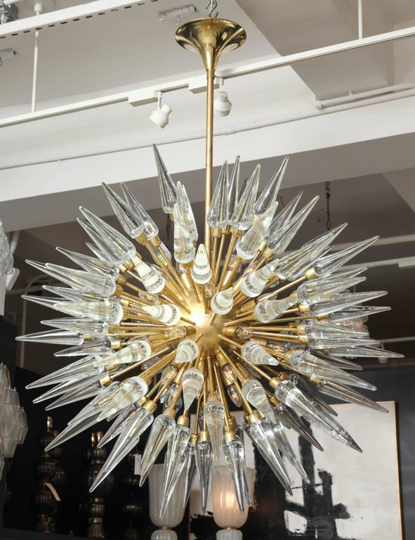 Original Large Glass and Brass Sputnik or Starburst Chandelier, 4ft diam. 8