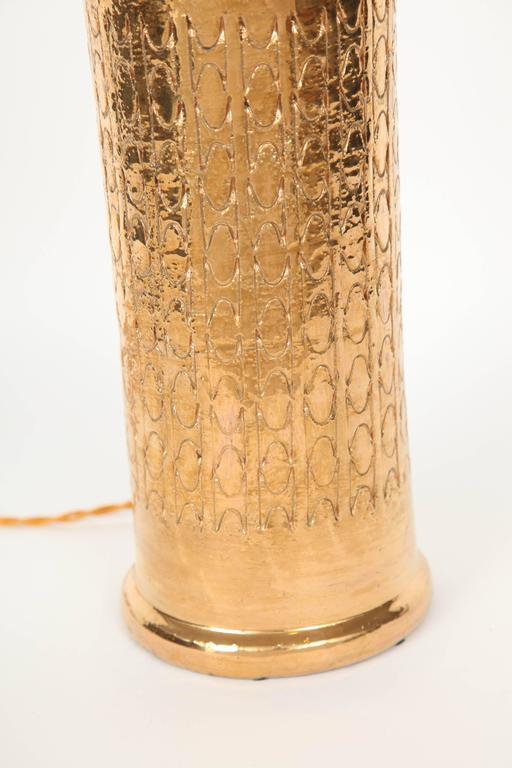 Italian Bitossi Gold Glazed Ceramic Lamps  For Sale
