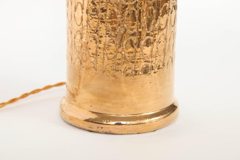 Gilt Bitossi Gold Glazed Ceramic Lamps  For Sale