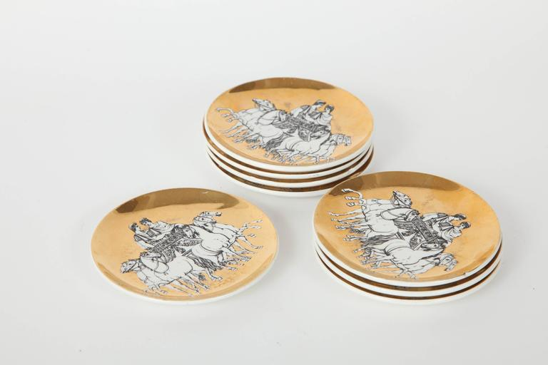Mid-Century Modern Eight Porcelain Coasters with Chariots by Fornasetti For Sale