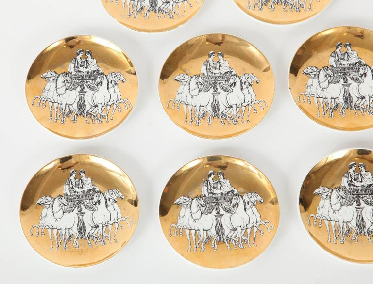 Eight Porcelain Coasters with Chariots by Fornasetti In Excellent Condition For Sale In New York, NY
