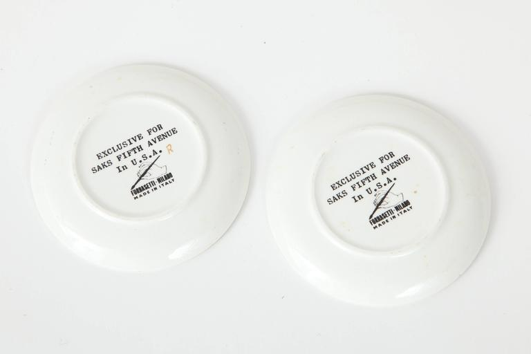 20th Century Eight Porcelain Coasters with Chariots by Fornasetti For Sale