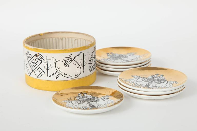 Eight Porcelain Coasters with Chariots by Fornasetti For Sale 1