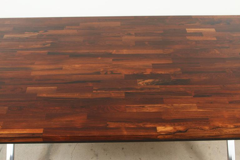 American Solid Rosewood Desk with Stainless Base by Jules Heumann for Metropolitan Group For Sale