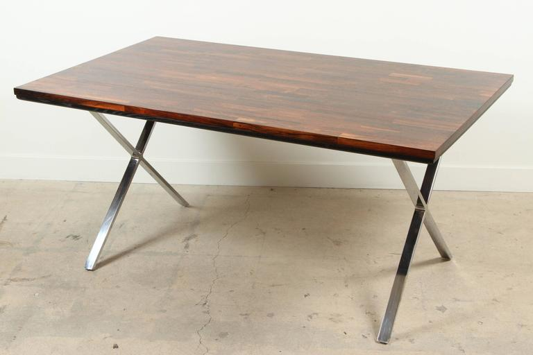 Solid Rosewood Desk with Stainless Base by Jules Heumann for Metropolitan Group In Excellent Condition For Sale In Los Angeles, CA