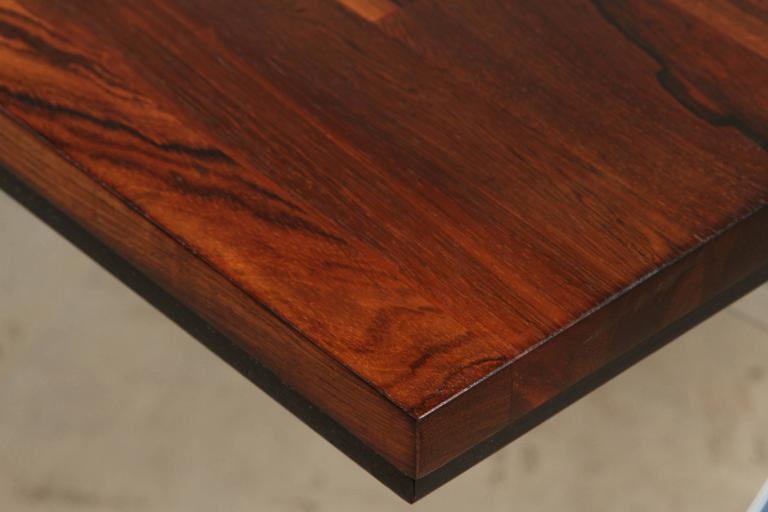 Solid Rosewood Desk with Stainless Base by Jules Heumann for Metropolitan Group 8