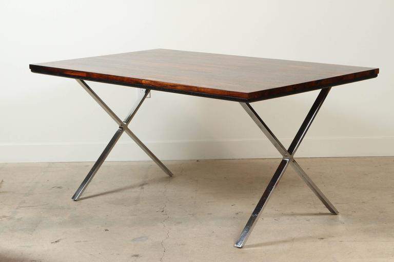 Solid Rosewood Desk with Stainless Base by Jules Heumann for Metropolitan Group For Sale 3