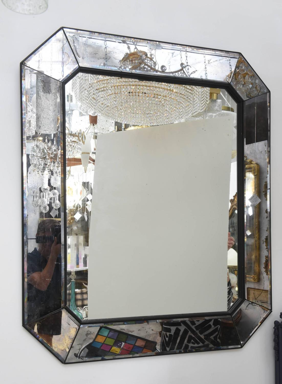 Vintage distressed mercury glass art deco mirror at 1stdibs for Glass mirrors for walls
