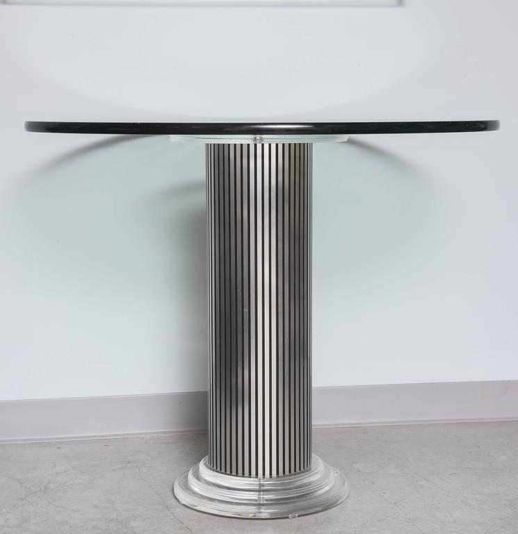 Lucite and glass round entrance or breakfast table. Can support a larger top.