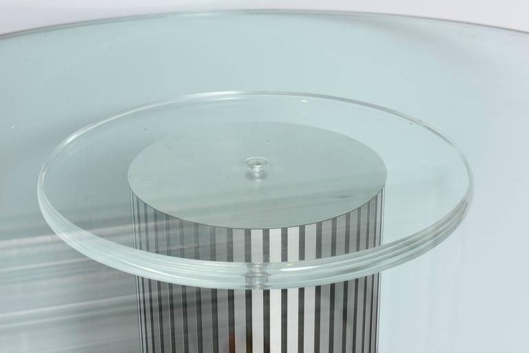 North American Vintage, Lucite Pedestal Table with Round 1