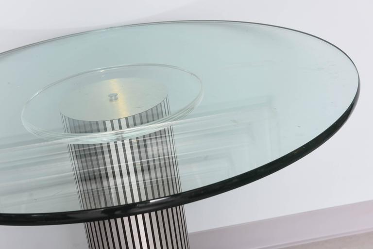 Late 20th Century Vintage, Lucite Pedestal Table with Round 1