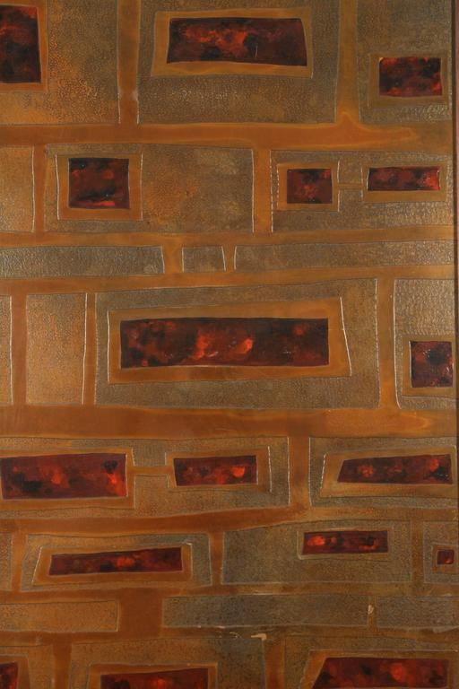 Mid-Century French Brass and Enamel Panel In Excellent Condition For Sale In Los Angeles, CA