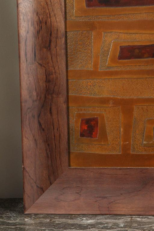 20th Century Mid-Century French Brass and Enamel Panel For Sale