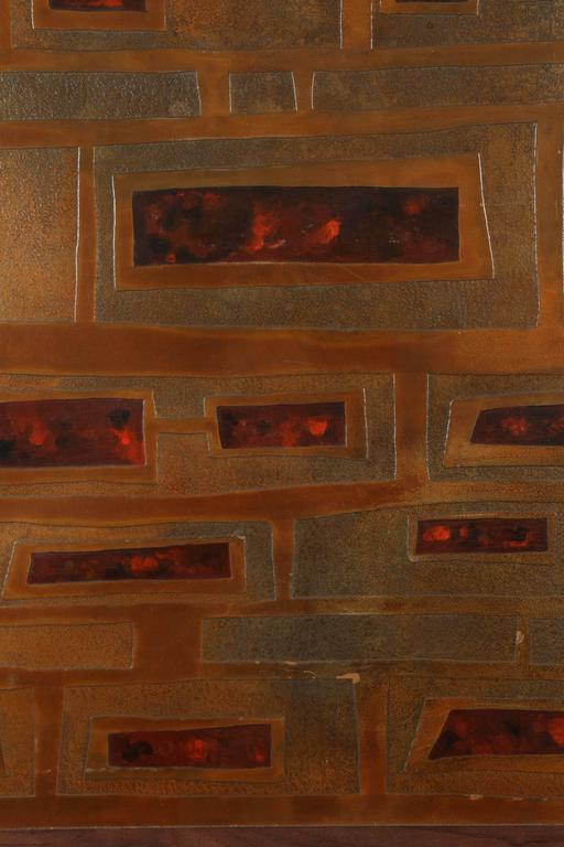 Mid-Century French Brass and Enamel Panel For Sale 3