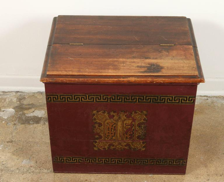 Late Victorian Late 19th Century English Tin and Wood Storage Box  For Sale