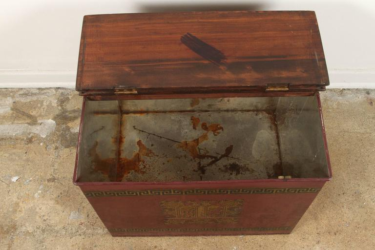 Late 19th Century English Tin and Wood Storage Box  In Excellent Condition For Sale In Los Angeles, CA