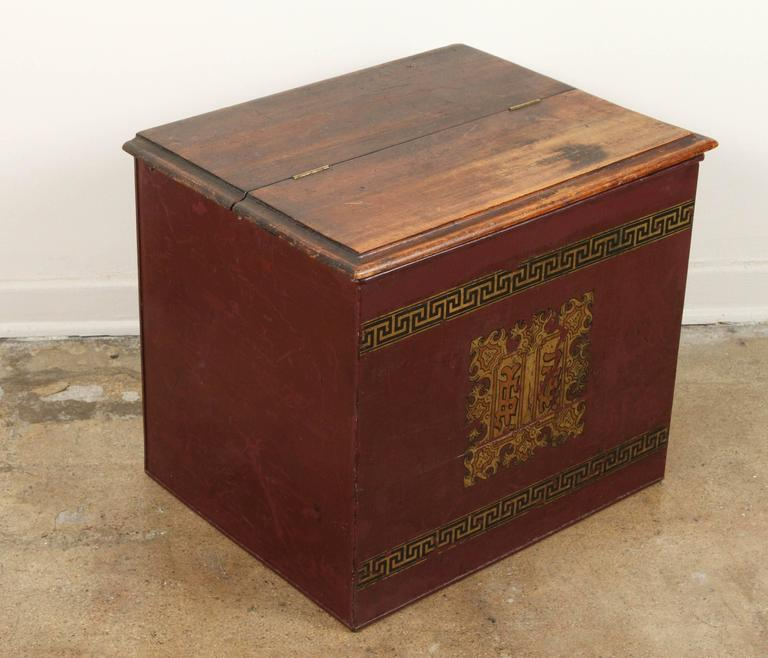 Late 19th Century English Tin and Wood Storage Box  For Sale 1