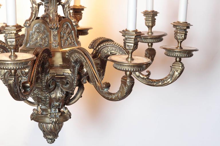Ornate 19th Century French Eight Light Bronze Chandelier