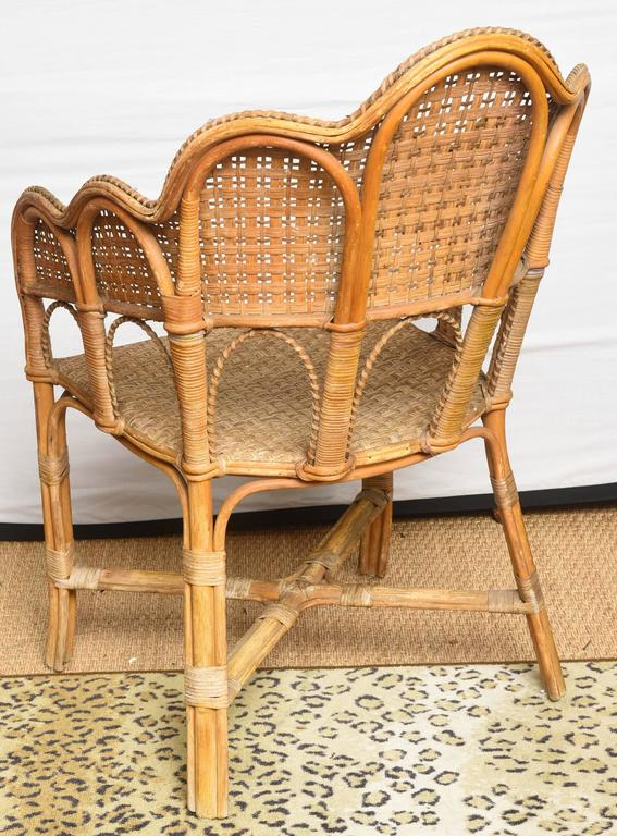 Set Of Very Unusual French Vintage Rattan Table And Chair