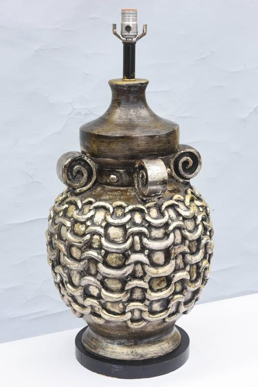 Oversized Midcentury Pottery Lamp With Silver Glaze At 1stdibs