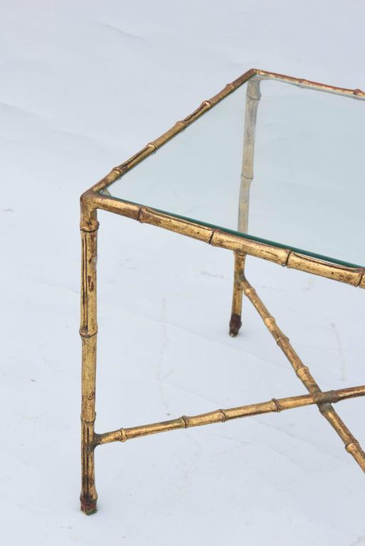 Gilt Gilded Iron Faux Bamboo Accent Table For Sale