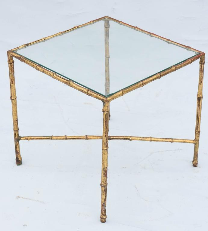Gilded Iron Faux Bamboo Accent Table In Excellent Condition For Sale In West Palm Beach, FL