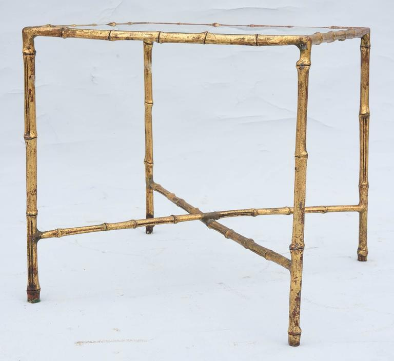 20th Century Gilded Iron Faux Bamboo Accent Table For Sale